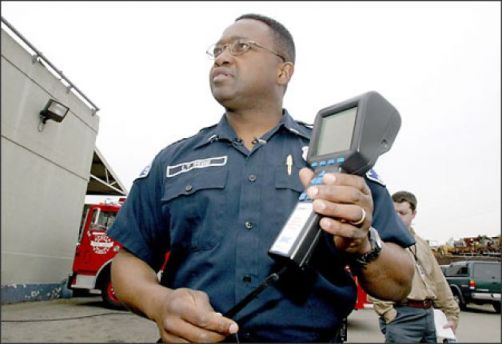 Handheld radiation detectors, like the one shown here, are critical to stopping nuclear proliferation. [Photo: Gilbert W. Arias/Seattle Post-Intelligencer]
