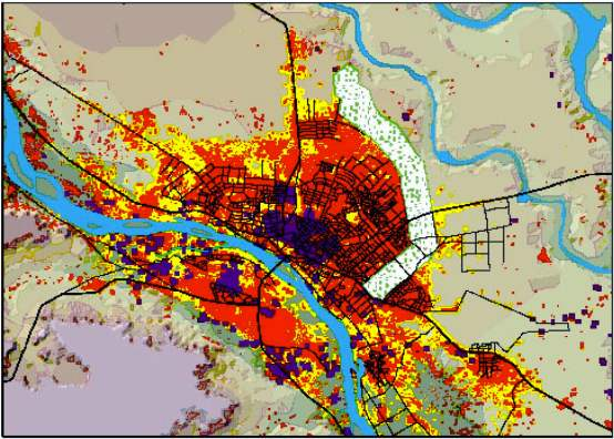 Urban Niamey in 1973 (purple), 2001 (red), and 2030 (yellow). (Image from A. Manu et al., Int. J. Geomatics and Geosciences.)